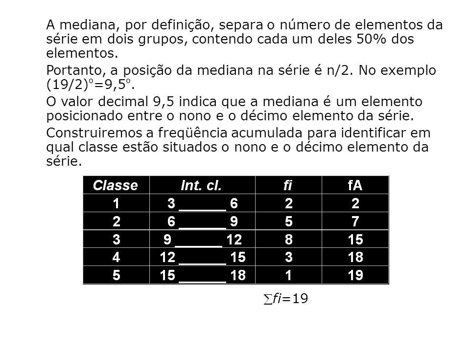 A mediana, por definição, separa o número de elementos da série em dois grupos, contendo cada um deles 50% dos elementos. Portanto, a posição da media
