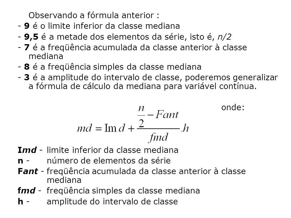 Observando a fórmula anterior : - 9 é o limite inferior da classe mediana - 9,5 é a metade dos elementos da série, isto é, n/2 - 7 é a freqüência acum