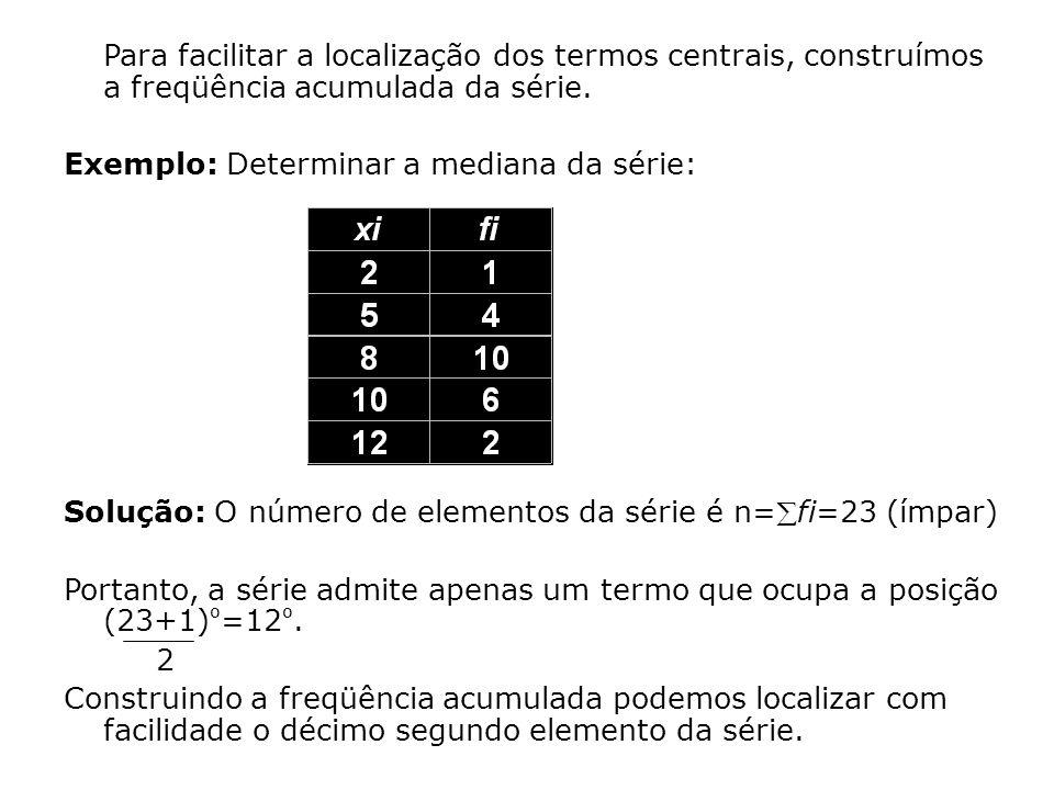 Note que o elemento que ocupa o primeira posição na série é 2.