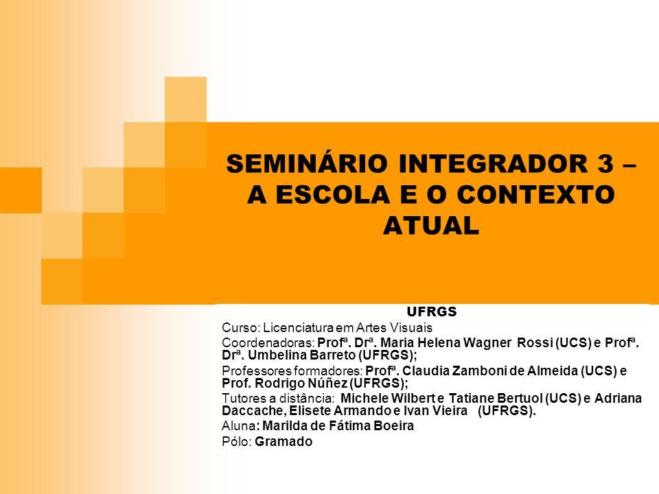 SEMINÁRIO INTEGRADOR 3 – A ESCOLA E O CONTEXTO ATUAL UFRGS Curso: Licenciatura em Artes Visuais Coordenadoras: Profª. Drª. Maria Helena Wagner Rossi (