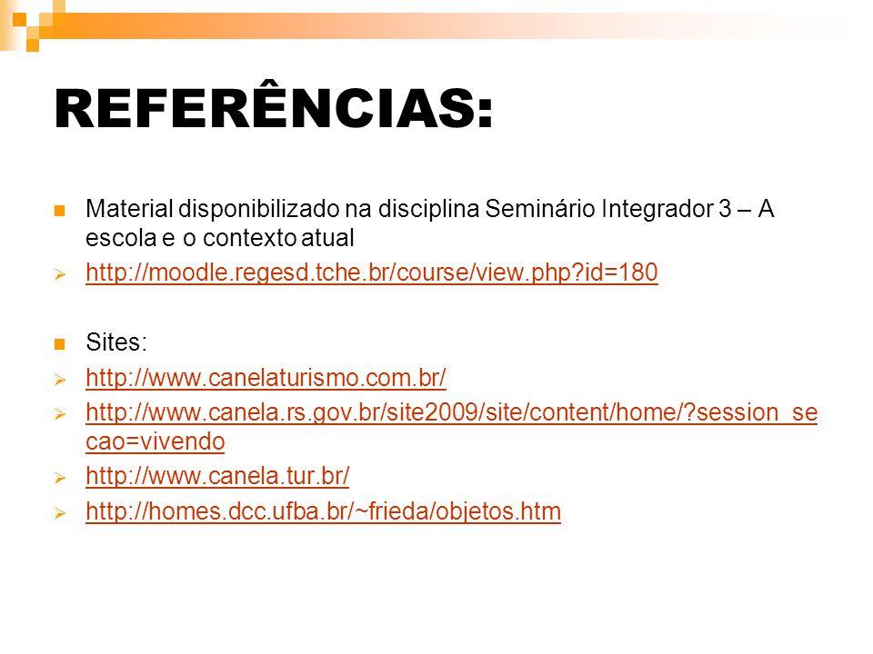 REFERÊNCIAS: Material disponibilizado na disciplina Seminário Integrador 3 – A escola e o contexto atual  http://moodle.regesd.tche.br/course/view.ph