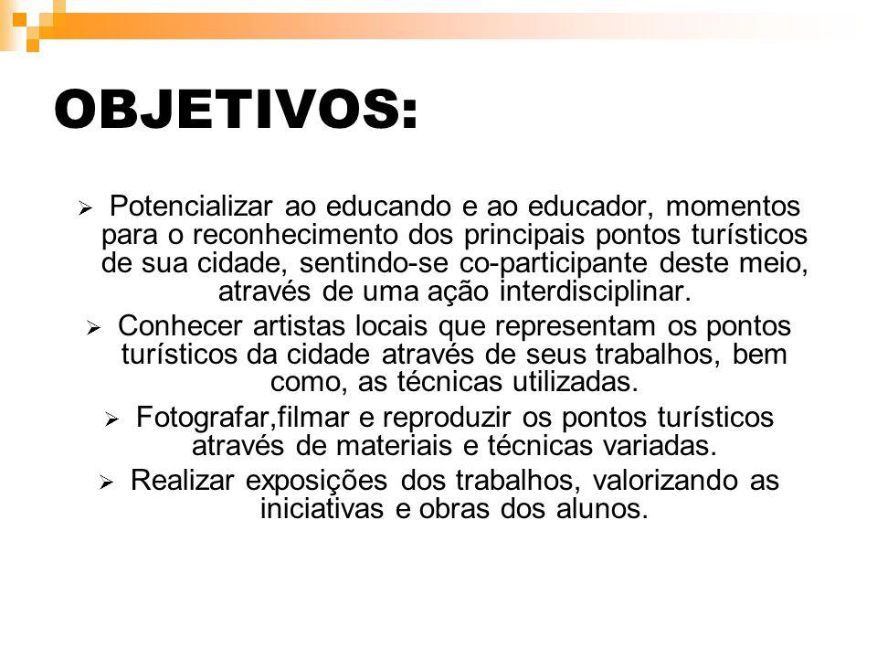 OBJETIVOS:  Potencializar ao educando e ao educador, momentos para o reconhecimento dos principais pontos turísticos de sua cidade, sentindo-se co-pa
