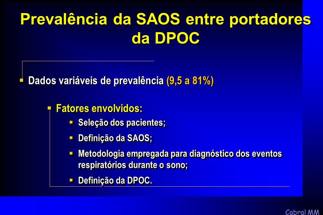 Cabral MM Prevalência da SAOS entre portadores da DPOC  Dados variáveis de prevalência (9,5 a 81%)  Fatores envolvidos:  Seleção dos pacientes;  D