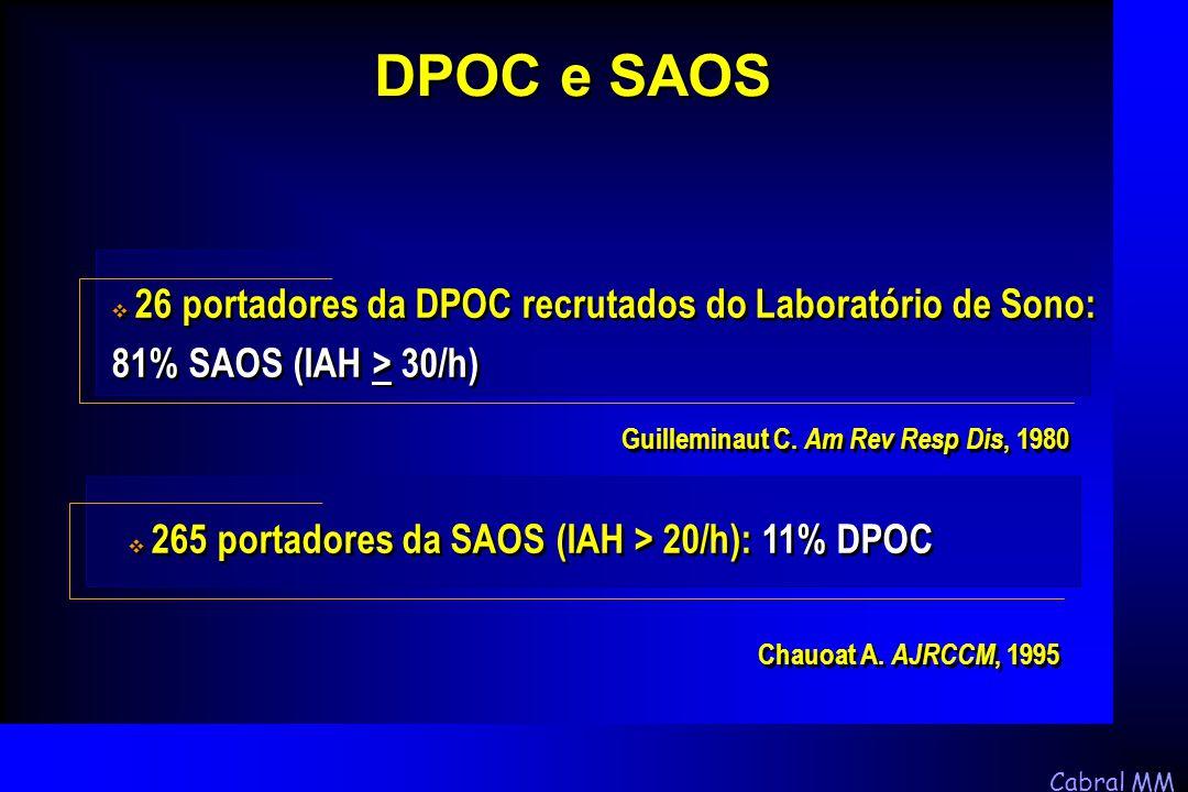 Cabral MM Guilleminaut C. Am Rev Resp Dis, 1980  26 portadores da DPOC recrutados do Laboratório de Sono: 81% SAOS (IAH > 30/h) DPOC e SAOS Chauoat A