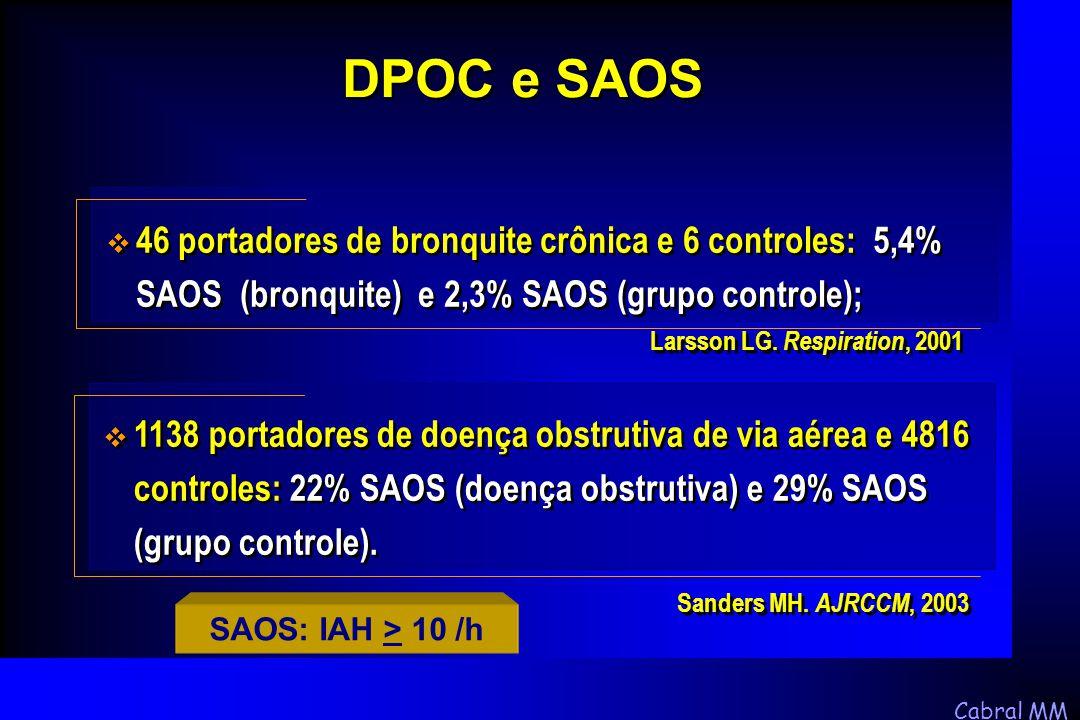 Cabral MM SAOS: IAH > 10 /h  46 portadores de bronquite crônica e 6 controles: 5,4% SAOS (bronquite) e 2,3% SAOS (grupo controle); DPOC e SAOS Larsso