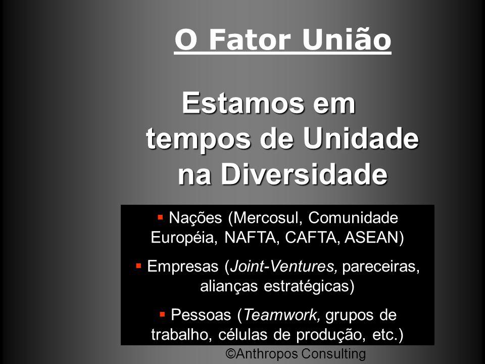 O Fator União Estamos em tempos de Unidade na Diversidade ©Anthropos Consulting  Nações (Mercosul, Comunidade Européia, NAFTA, CAFTA, ASEAN)  Empres