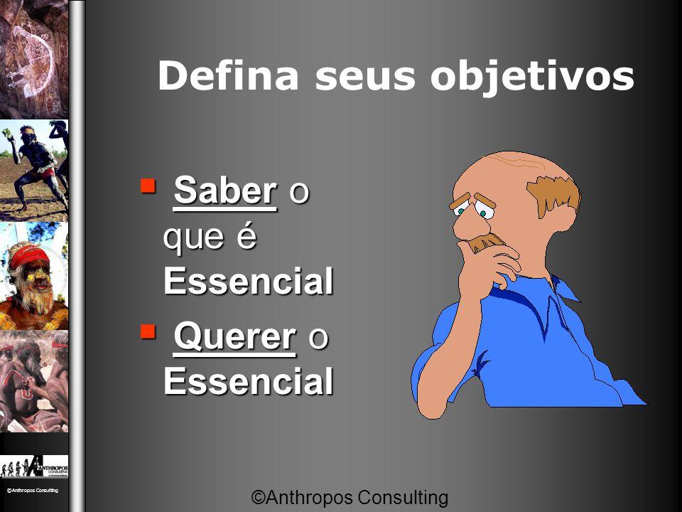 Defina seus objetivos  Saber o que é Essencial  Querer o Essencial ©Anthropos Consulting