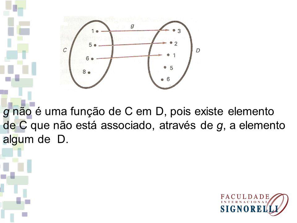 g não é uma função de C em D, pois existe elemento de C que não está associado, através de g, a elemento algum de D.