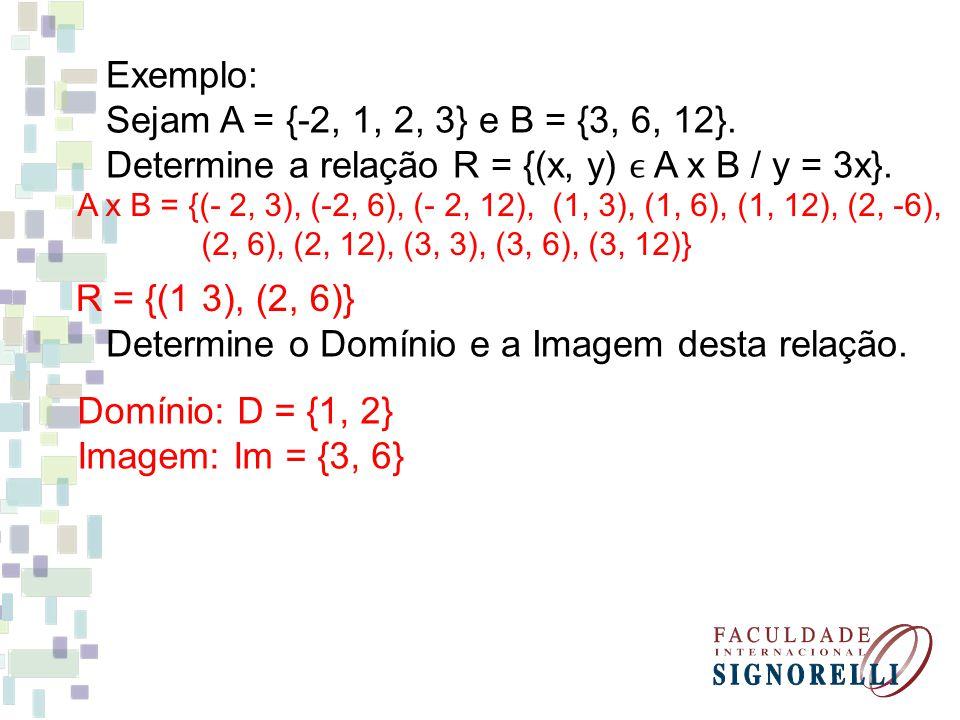 Exemplo: Sejam A = {-2, 1, 2, 3} e B = {3, 6, 12}. Determine a relação R = {(x, y) A x B / y = 3x}. Determine o Domínio e a Imagem desta relação. A x