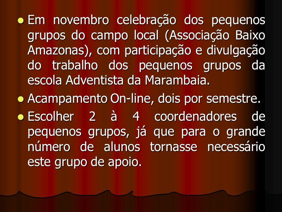 Em novembro celebração dos pequenos grupos do campo local (Associação Baixo Amazonas), com participação e divulgação do trabalho dos pequenos grupos d