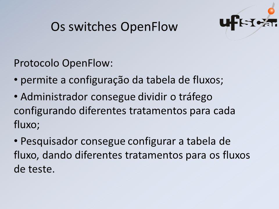Os switches OpenFlow Protocolo OpenFlow: permite a configuração da tabela de fluxos; Administrador consegue dividir o tráfego configurando diferentes tratamentos para cada fluxo; Pesquisador consegue configurar a tabela de fluxo, dando diferentes tratamentos para os fluxos de teste.