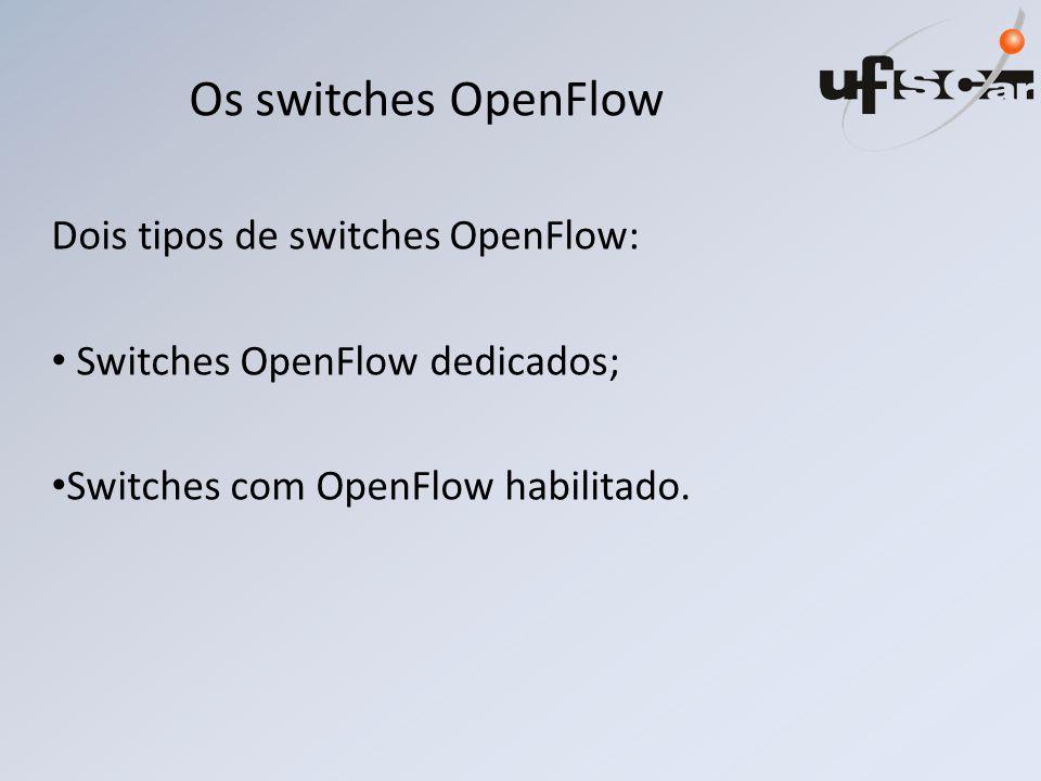 Os switches OpenFlow Dois tipos de switches OpenFlow: Switches OpenFlow dedicados; Switches com OpenFlow habilitado.