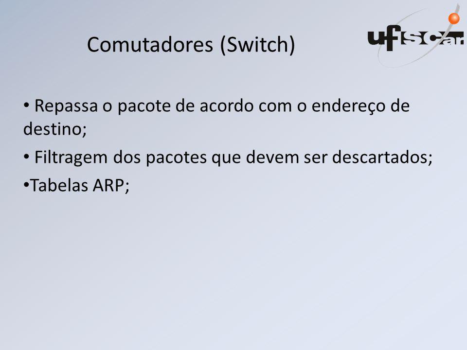 Comutadores (Switch) Repassa o pacote de acordo com o endereço de destino; Filtragem dos pacotes que devem ser descartados; Tabelas ARP;