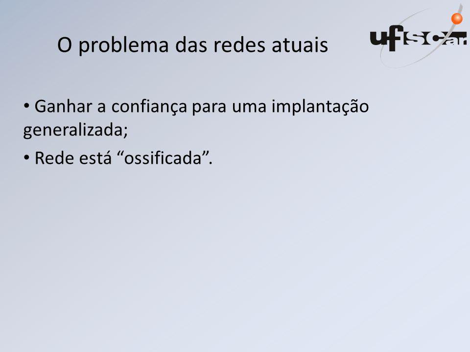 O problema das redes atuais Ganhar a confiança para uma implantação generalizada; Rede está ossificada .