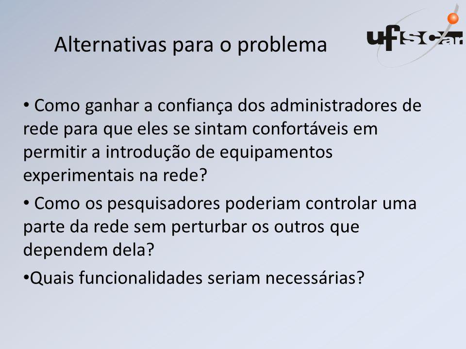 Alternativas para o problema Como ganhar a confiança dos administradores de rede para que eles se sintam confortáveis em permitir a introdução de equipamentos experimentais na rede.