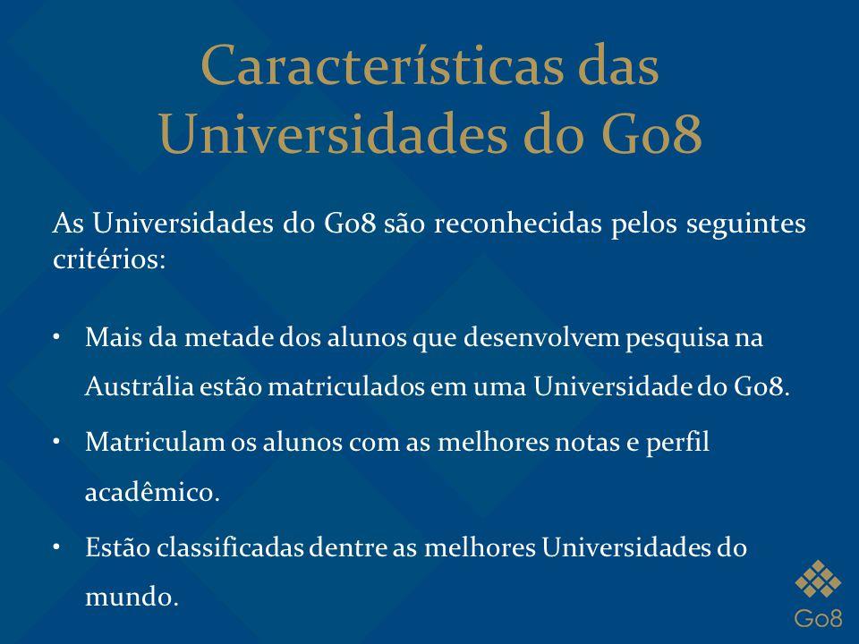 Características das Universidades do Go8 As Universidades do Go8 são reconhecidas pelos seguintes critérios: Mais da metade dos alunos que desenvolvem