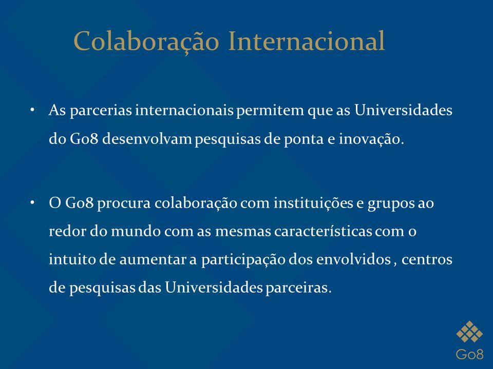 Colaboração Internacional As parcerias internacionais permitem que as Universidades do Go8 desenvolvam pesquisas de ponta e inovação. O Go8 procura co