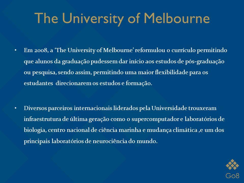 The University of Melbourne Em 2008, a 'The University of Melbourne' reformulou o currículo permitindo que alunos da graduação pudessem dar início aos
