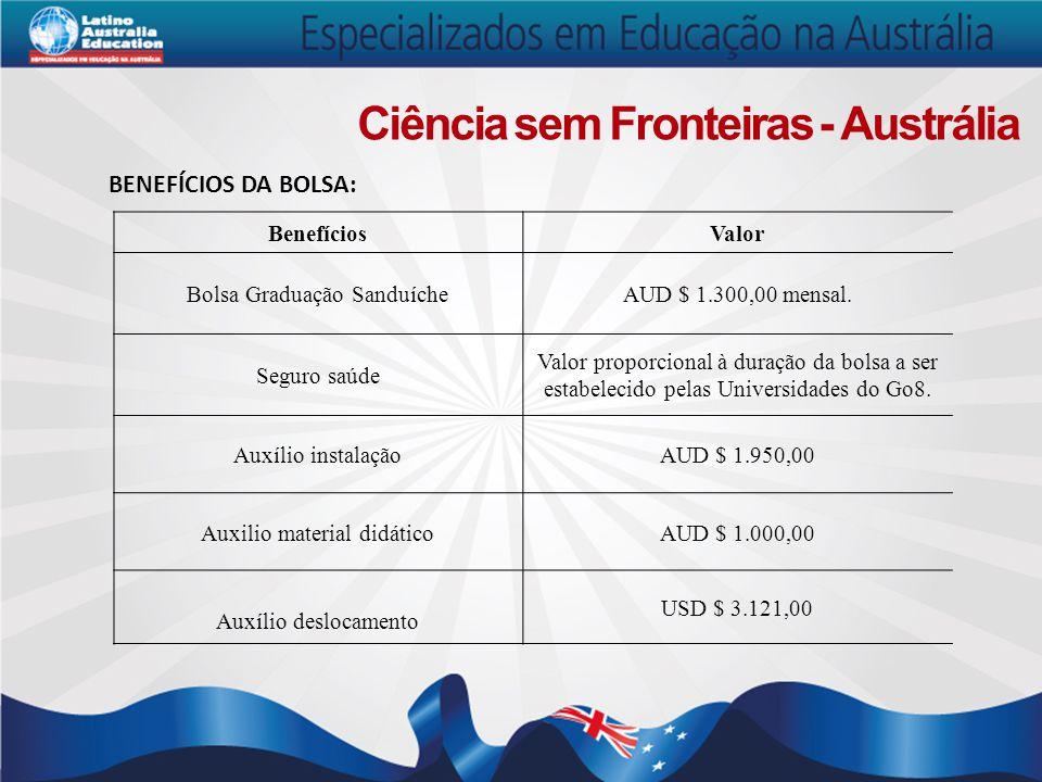 Ciência sem Fronteiras - Austrália BENEFÍCIOS DA BOLSA: BenefíciosValor Bolsa Graduação SanduícheAUD $ 1.300,00 mensal. Seguro saúde Valor proporciona