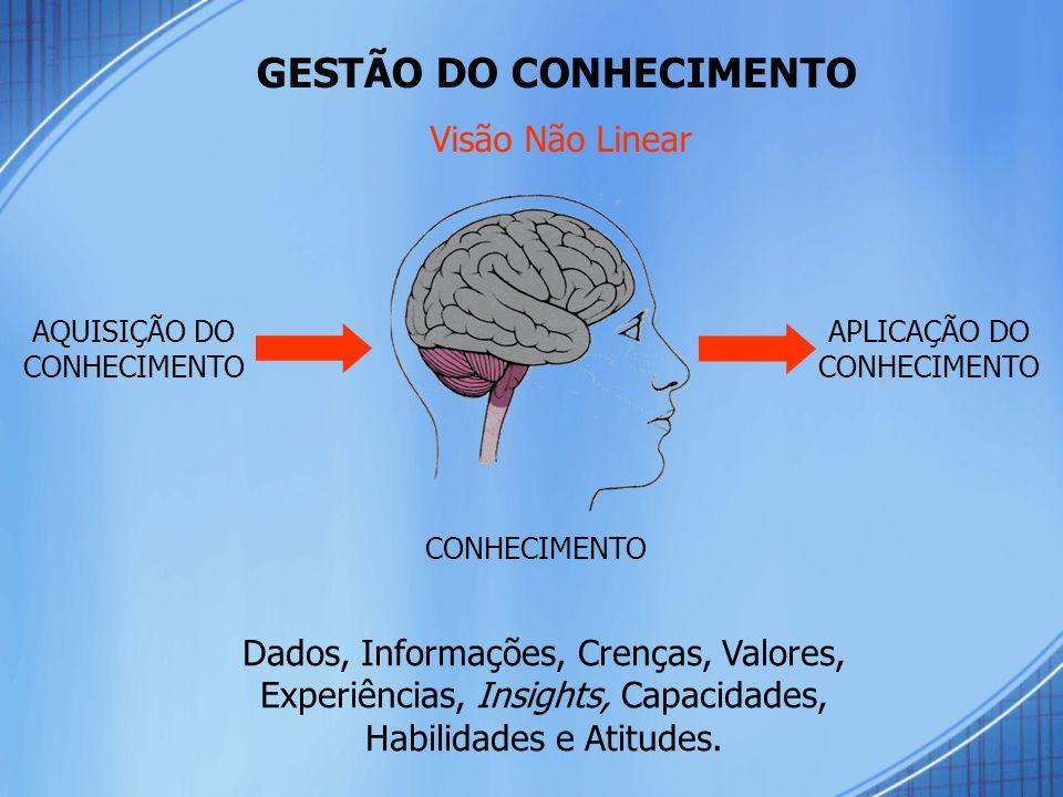 AQUISIÇÃO DO CONHECIMENTO APLICAÇÃO DO CONHECIMENTO CONHECIMENTO Dados, Informações, Crenças, Valores, Experiências, Insights, Capacidades, Habilidades e Atitudes.