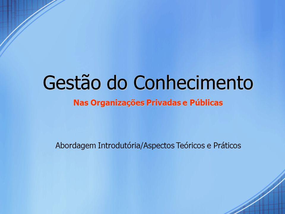 Gestão do Conhecimento Nas Organizações Privadas e Públicas Abordagem Introdutória/Aspectos Teóricos e Práticos