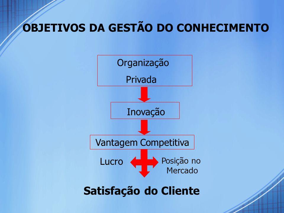 OBJETIVOS DA GESTÃO DO CONHECIMENTO Organização Privada Inovação Vantagem Competitiva Lucro Posição no Mercado Satisfação do Cliente