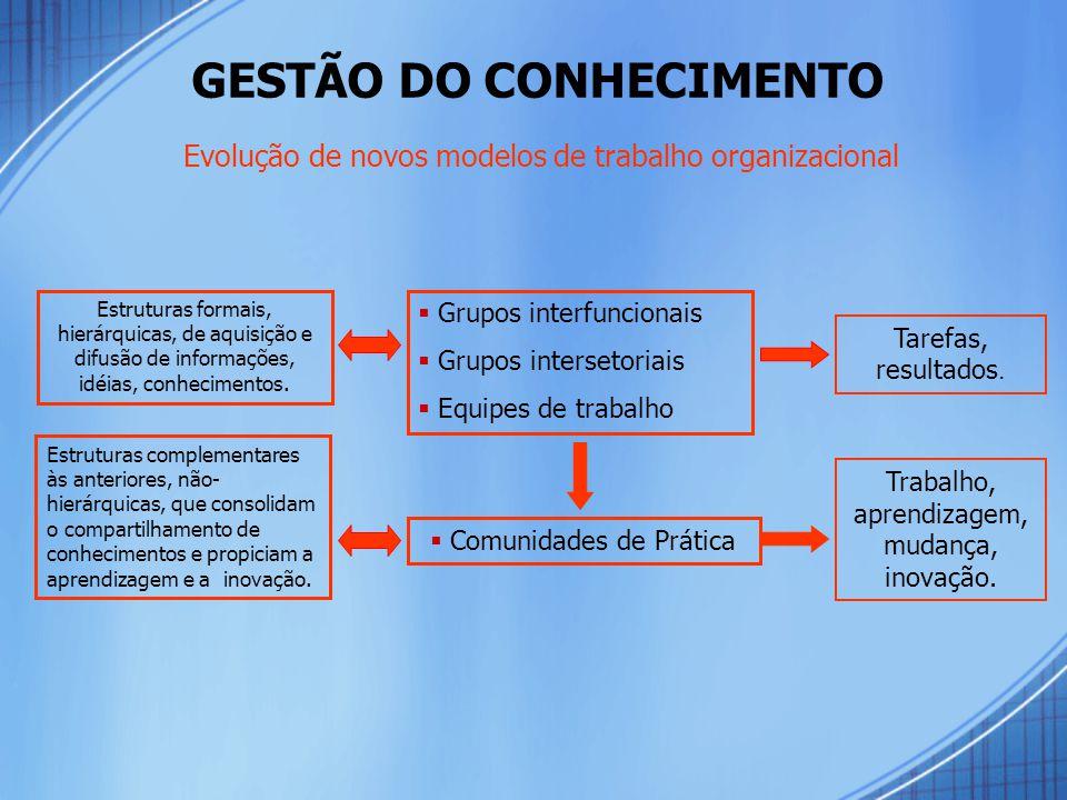  Grupos interfuncionais  Grupos intersetoriais  Equipes de trabalho  Comunidades de Prática Tarefas, resultados.
