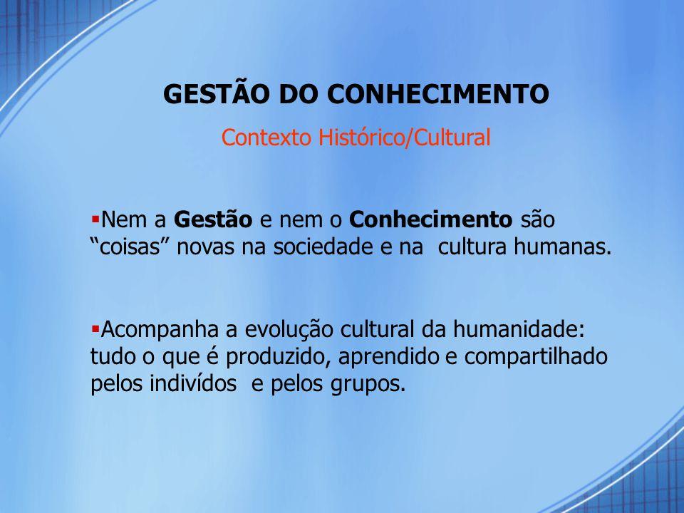 GESTÃO DO CONHECIMENTO Contexto Histórico/Cultural  Nem a Gestão e nem o Conhecimento são coisas novas na sociedade e na cultura humanas.