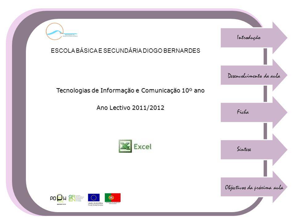 Introdução Desenvolvimento da aula Ficha Síntese Objectivos da próxima aula Tecnologias de Informação e Comunicação 10º ano Ano Lectivo 2011/2012 ESCO