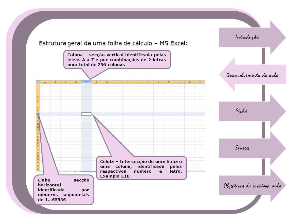Introdução Desenvolvimento da aula Ficha Síntese Objectivos da próxima aula Estrutura geral de uma folha de cálculo – MS Excel: Coluna – secção vertic