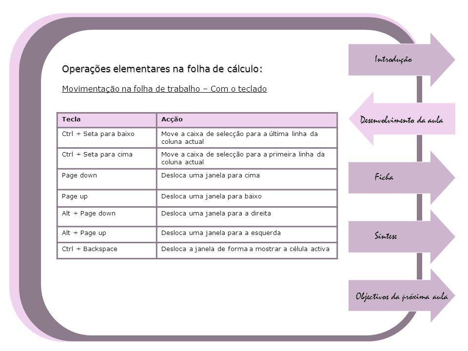 Introdução Desenvolvimento da aula Ficha Síntese Objectivos da próxima aula Operações elementares na folha de cálculo: Movimentação na folha de trabal