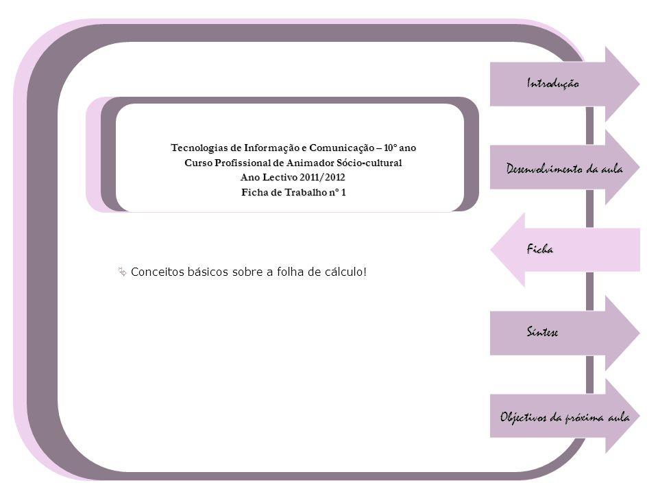 Introdução Desenvolvimento da aula Ficha Síntese Objectivos da próxima aula Tecnologias de Informação e Comunicação – 10º ano Curso Profissional de An