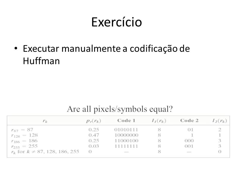Exercício Executar manualmente a codificação de Huffman