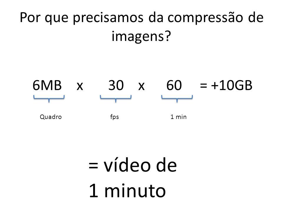 Por que precisamos da compressão de imagens? 6MB x 30 x 60 = +10GB Quadrofps1 min = vídeo de 1 minuto
