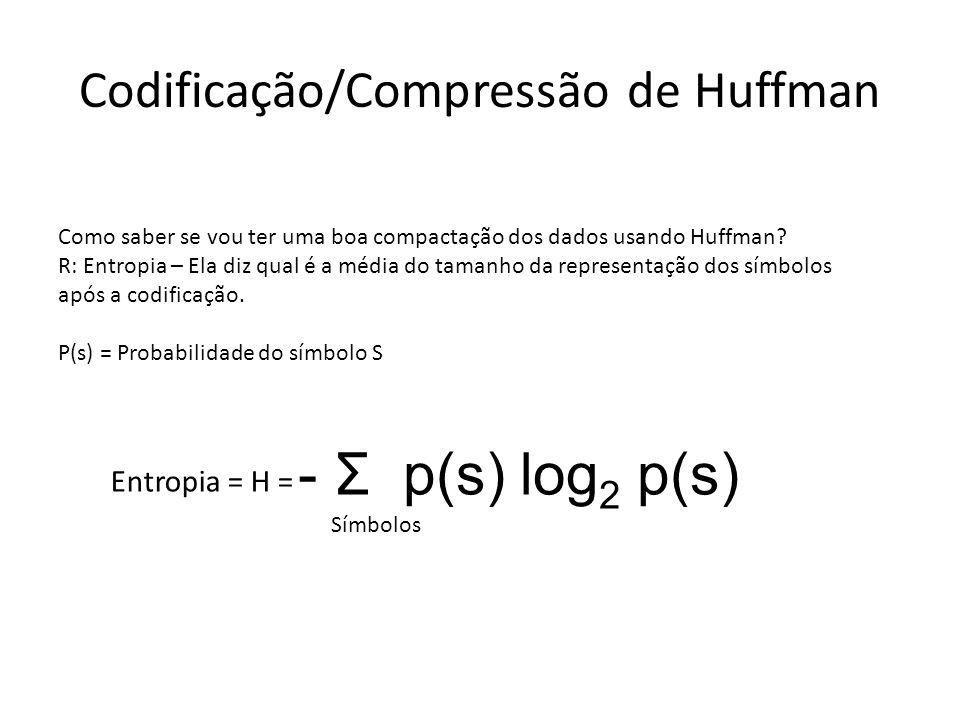 Codificação/Compressão de Huffman Como saber se vou ter uma boa compactação dos dados usando Huffman? R: Entropia – Ela diz qual é a média do tamanho