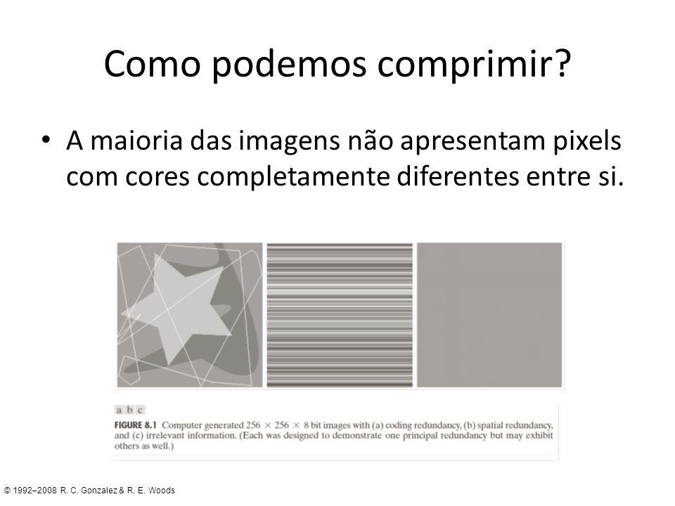 Como podemos comprimir? A maioria das imagens não apresentam pixels com cores completamente diferentes entre si. © 1992–2008 R. C. Gonzalez & R. E. Wo