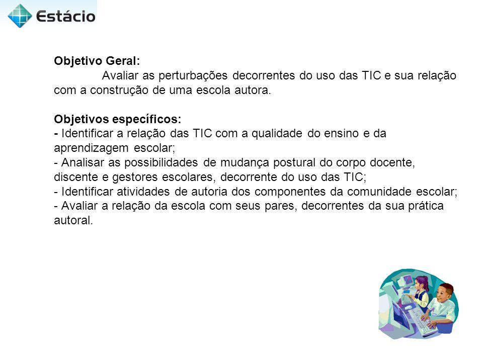 Objetivo Geral: Avaliar as perturbações decorrentes do uso das TIC e sua relação com a construção de uma escola autora. Objetivos específicos: - Ident