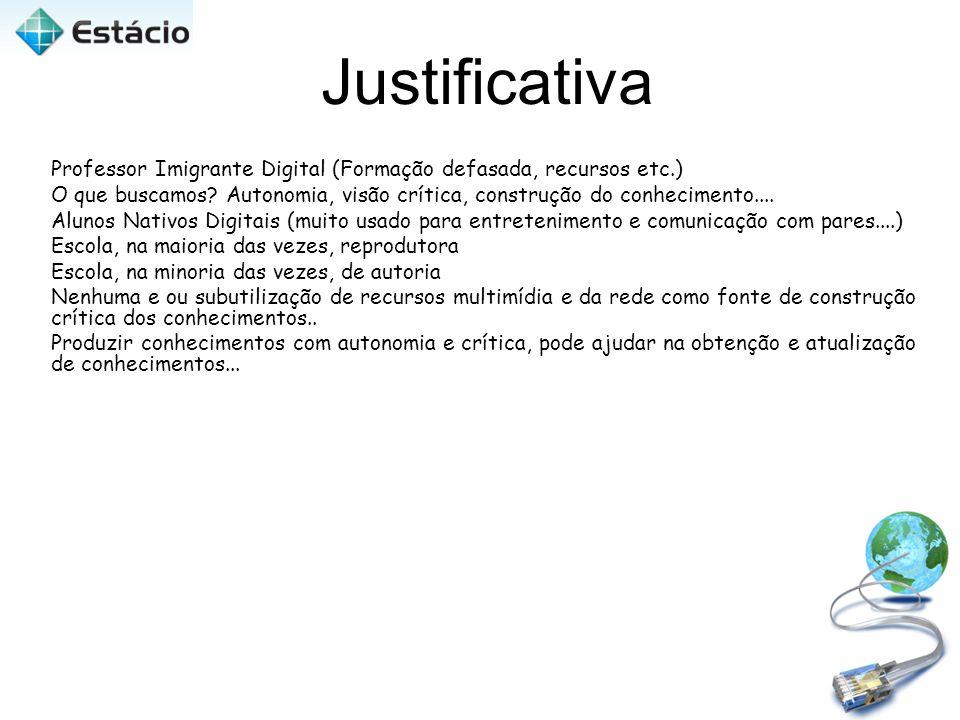 Justificativa Professor Imigrante Digital (Formação defasada, recursos etc.) O que buscamos? Autonomia, visão crítica, construção do conhecimento....