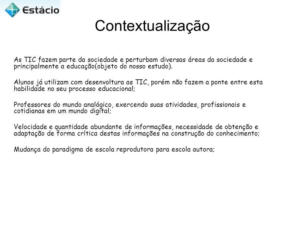 Contextualização As TIC fazem parte da sociedade e perturbam diversas áreas da sociedade e principalmente a educação(objeto do nosso estudo). Alunos j