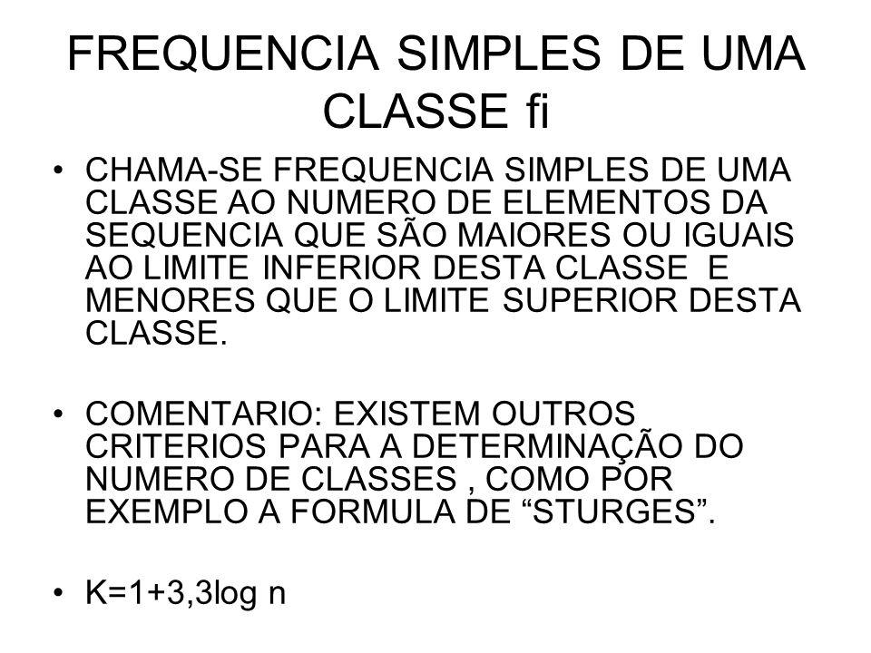 FREQUENCIA SIMPLES DE UMA CLASSE fi CHAMA-SE FREQUENCIA SIMPLES DE UMA CLASSE AO NUMERO DE ELEMENTOS DA SEQUENCIA QUE SÃO MAIORES OU IGUAIS AO LIMITE INFERIOR DESTA CLASSE E MENORES QUE O LIMITE SUPERIOR DESTA CLASSE.