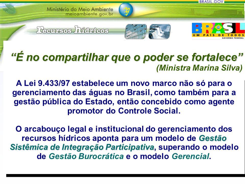 Gestão Sistêmica de Integração Participativa A Lei 9.433/97 estabelece um novo marco não só para o gerenciamento das águas no Brasil, como também para