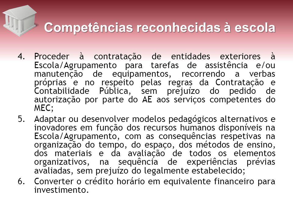 Competências reconhecidas à escola 4.Proceder à contratação de entidades exteriores à Escola/Agrupamento para tarefas de assistência e/ou manutenção d
