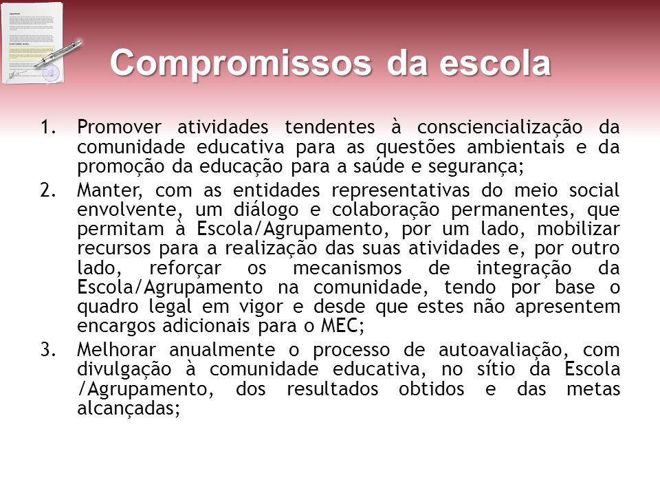 Compromissos da escola 1.Promover atividades tendentes à consciencialização da comunidade educativa para as questões ambientais e da promoção da educa