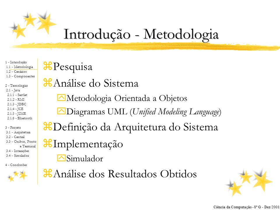 1 - Introdução 1.1 - Metodologia 1.2 - Cenários 1.3 - Componentes 2 - Tecnologias 2.1 - Java 2.1.1 - Servlet 2.1.2 - RMI 2.1.3 - JDBC 2.1.4 - JCE 2.1.5 - J2ME 2.1.6 - Bluetooth 3 - Projeto 3.1 - Arquitetura 3.2 - Central 3.3 - Onibus, Ponto e Terminal 3.4 - Interações 3.4 - Simulador 4 - Conclusões Ciência da Computação - 8º G - Dez/2001 Introdução - Metodologia zPesquisa zAnálise do Sistema yMetodologia Orientada a Objetos yDiagramas UML (Unified Modeling Language) zDefinição da Arquitetura do Sistema zImplementação ySimulador zAnálise dos Resultados Obtidos