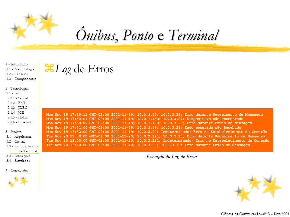 1 - Introdução 1.1 - Metodologia 1.2 - Cenários 1.3 - Componentes 2 - Tecnologias 2.1 - Java 2.1.1 - Servlet 2.1.2 - RMI 2.1.3 - JDBC 2.1.4 - JCE 2.1.5 - J2ME 2.1.6 - Bluetooth 3 - Projeto 3.1 - Arquitetura 3.2 - Central 3.3 - Onibus, Ponto e Terminal 3.4 - Interações 3.4 - Simulador 4 - Conclusões Ciência da Computação - 8º G - Dez/2001 Ônibus, Ponto e Terminal zDiagrama de Classes yEspecifica os Serviços Ônibus, Ponto e Terminal yVerifica-se a Existência do Log yO Terminal possui um conexão (via RMI) com a Central Diagrama de classes do ônibus, ponto e terminal
