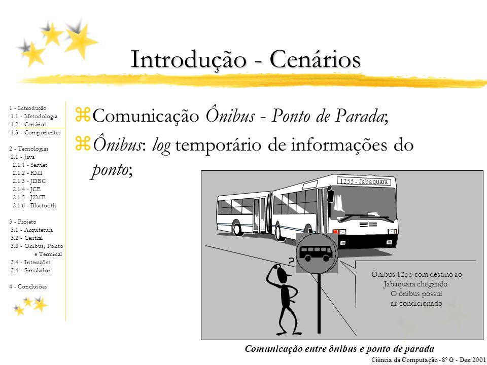 1 - Introdução 1.1 - Metodologia 1.2 - Cenários 1.3 - Componentes 2 - Tecnologias 2.1 - Java 2.1.1 - Servlet 2.1.2 - RMI 2.1.3 - JDBC 2.1.4 - JCE 2.1.5 - J2ME 2.1.6 - Bluetooth 3 - Projeto 3.1 - Arquitetura 3.2 - Central 3.3 - Onibus, Ponto e Terminal 3.4 - Interações 3.4 - Simulador 4 - Conclusões Ciência da Computação - 8º G - Dez/2001 zComunicação Ônibus - Ponto de Parada; zÔnibus: log temporário de informações do ponto; 1255 - Jabaquara Ônibus 1255 com destino ao Jabaquara chegando.