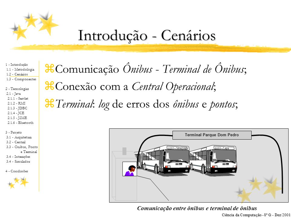 1 - Introdução 1.1 - Metodologia 1.2 - Cenários 1.3 - Componentes 2 - Tecnologias 2.1 - Java 2.1.1 - Servlet 2.1.2 - RMI 2.1.3 - JDBC 2.1.4 - JCE 2.1.5 - J2ME 2.1.6 - Bluetooth 3 - Projeto 3.1 - Arquitetura 3.2 - Central 3.3 - Onibus, Ponto e Terminal 3.4 - Interações 3.4 - Simulador 4 - Conclusões Ciência da Computação - 8º G - Dez/2001 Simulador zDesenvolvido sobre J2SE; zRede Convencional; zAplicações Completas; zJanela de Visualização.