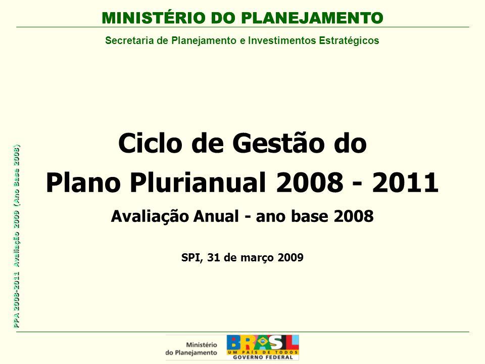MINISTÉRIO DO PLANEJAMENTO Secretaria de Planejamento e Investimentos Estratégicos PPA 2008-2011 Avaliação 2009 (Ano Base 2008) Ciclo de Gestão do Plano Plurianual 2008 - 2011 Avaliação Anual - ano base 2008 MINISTÉRIO DO PLANEJAMENTO SPI, 31 de março 2009