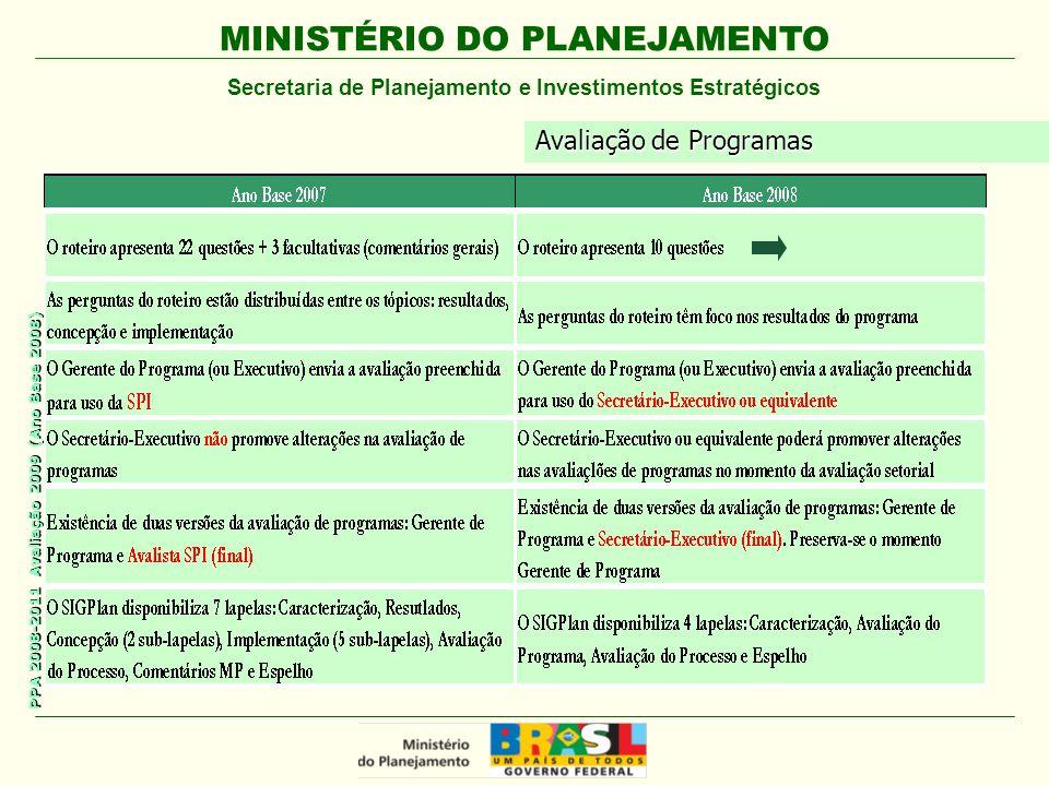 MINISTÉRIO DO PLANEJAMENTO Secretaria de Planejamento e Investimentos Estratégicos PPA 2008-2011 Avaliação 2009 (Ano Base 2008) Avaliação de Programas