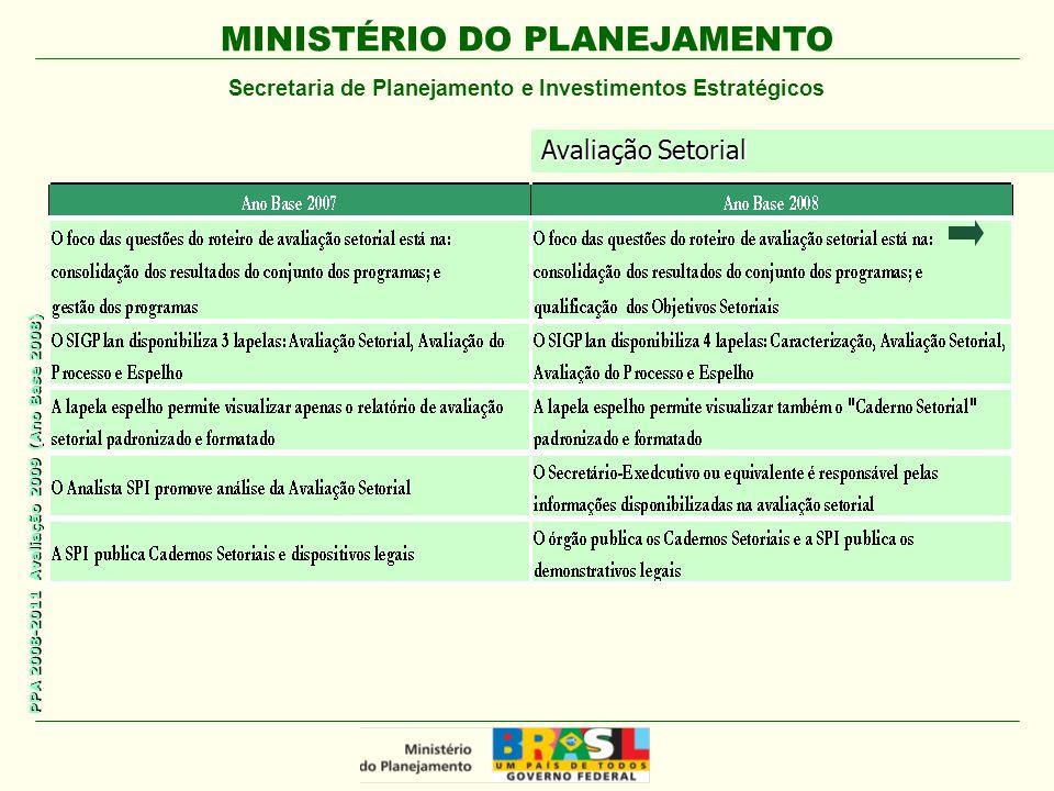 MINISTÉRIO DO PLANEJAMENTO Secretaria de Planejamento e Investimentos Estratégicos PPA 2008-2011 Avaliação 2009 (Ano Base 2008) Avaliação Setorial